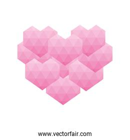 heart polygonal love romantic passion icon. Vector graphic