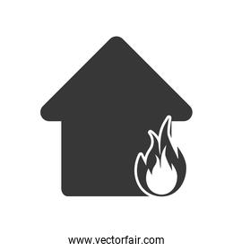 house home flame fire insurance icon. Vector graphic