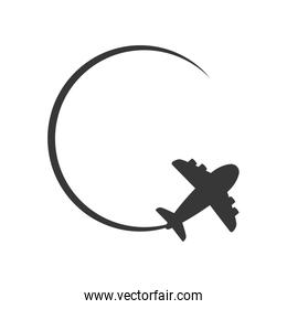 airplane circle silhouette travel icon. Vector graphic
