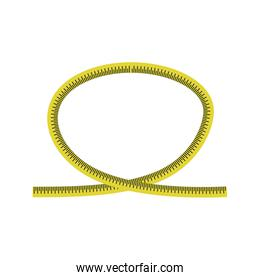 meter yellow tape measure icon. Vector graphic