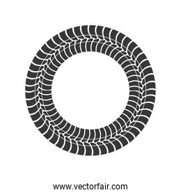 print wheel tire shape black icon. Vector graphic
