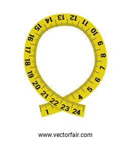 meter yellow tape measure tool icon. Vector graphic
