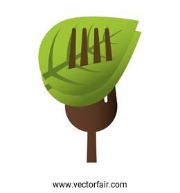 cutlery leaf product healthy icon. Vector graphic