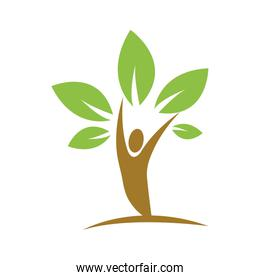 Leaf person green plant icon. Vector graphic