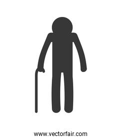 old man pictogram silhouette icon. Vector graphic