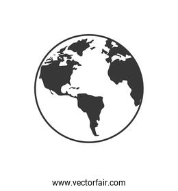 planet earth world silhouette icon. Vector graphic