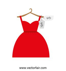 shopping red dress female icon. Vector graphic