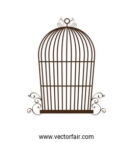 Birdcage silhouette vintage icon, vector illustration