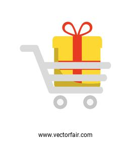 gift cart present bowtie red ribbon icon