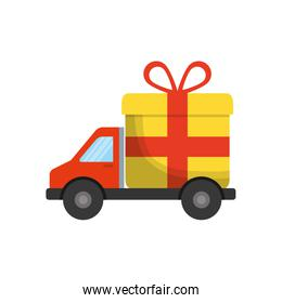 gift truck present bowtie red ribbon icon