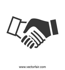 human hand shake gesture shape icon. Vector graphic