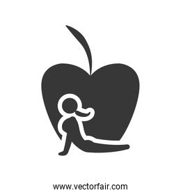 apple stretching healthy lifestyle design