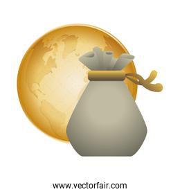 money bag planet financial item design