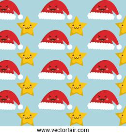 Stars and hats of Christmas background