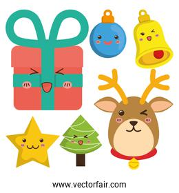 Reindeer and cartoons of Chistmas design