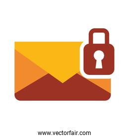Envelope message with padlock design