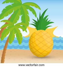 Pineapple fruit and summer concept