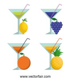 Cocktails fruits and summer concept