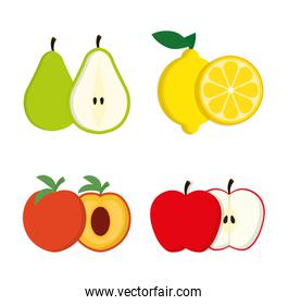 Pear peach lemon and apple fruit and summer concept