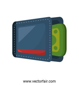 wallet with money isolate icon