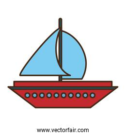 sailboat transport isolated icon