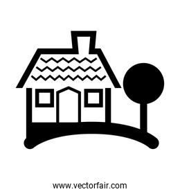 house and tree silhouette