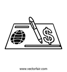 bank check paper linear style icon