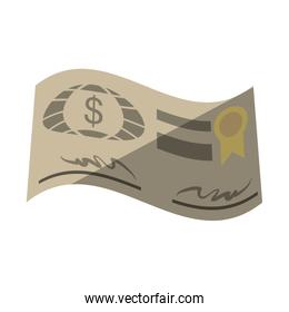 bank check paper isolated icon