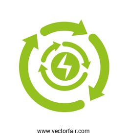 recycle energy arrows icon isolated