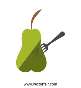 green pear fruit on fork with shadow