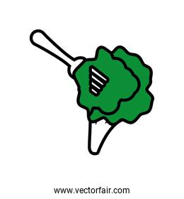 green broccoli on fork icon