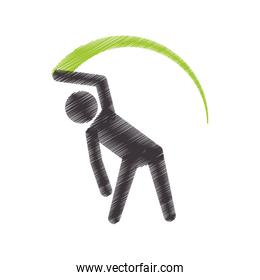 drawing colored silhouette athlete gymnastic with ribbon