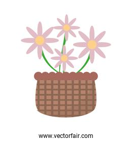 basket with pink flowers icon