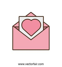 mail paper heart envelope pink icon