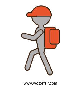 silhouette man hiking orange cap bag