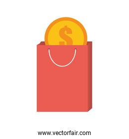 pink bag gift buy with dollar coin