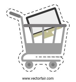 shopping cart online computer digital-cut line design