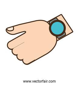 cartoon hand with smart watch trendy wearable technology