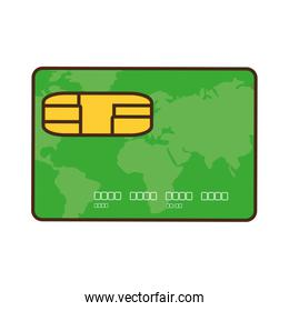 cartoon green credit card global bank