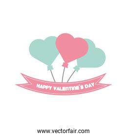 happy valentine day card balloons heart pastel color