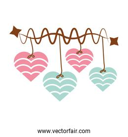 hearts hanging pink and blue star decoration