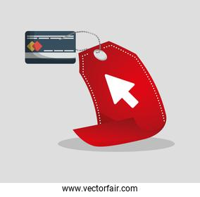credit card tag price shopping online concept