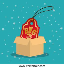 cardboard box tag price big offer sale with star blue background