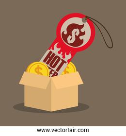 cardboard box coin money tag price hot offer