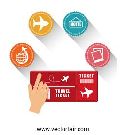 hand tocuh ticket travel icons