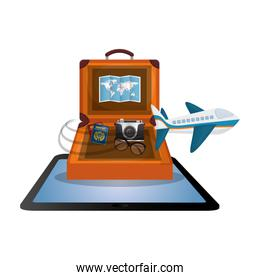 travel suitcase cellphone map camera airplane