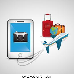 travel smartphone plane camera photo globe luggage