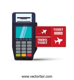 ticket travel airplane dataphone payment