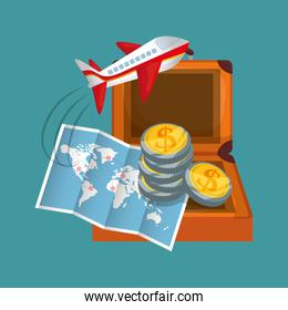 travel map coins suitcase airplane