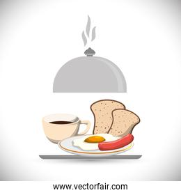 tray breakfast meal coffee fried egg sausage bread